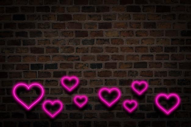 Różowe Serca, Neon Znak Na Tle ściany Ognia. Koncepcja Walentynki, Miłość. Premium Zdjęcia