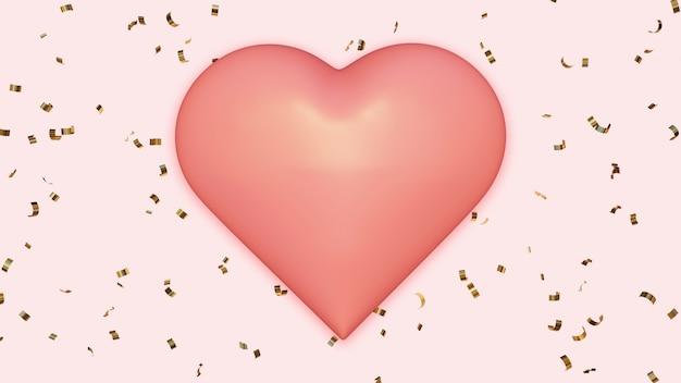 Różowe Serce Na Tle Złotego Konfetti Premium Zdjęcia