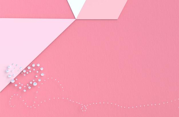 Różowe Tło Miłości Z Diamentem, Serce Biżuteria. W Walentynki. Premium Zdjęcia