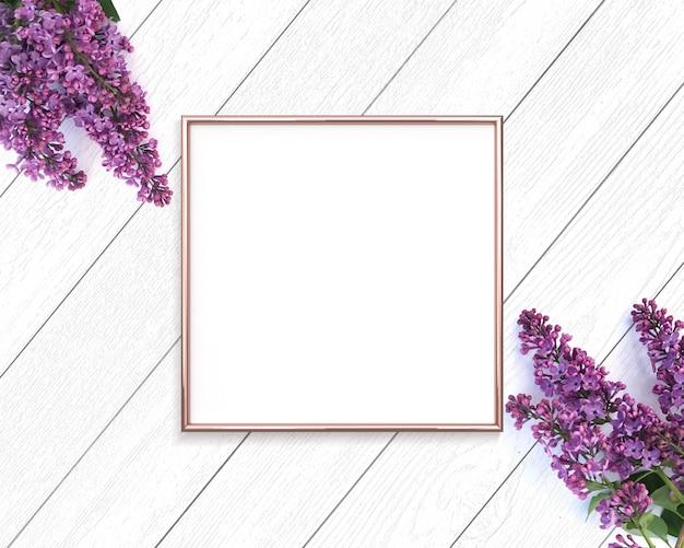 Różowe Złoto Rama I Kwiaty Bzu Na Drewniane Tła Premium Zdjęcia