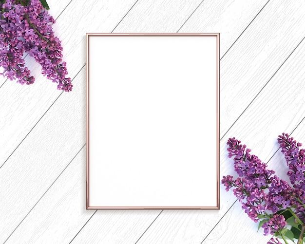Różowe Złoto Rama Na Drewniane Malowane Białe Tło Premium Zdjęcia