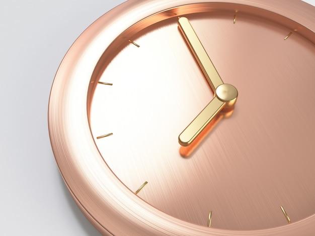 Różowe złoto, różowy złoty metaliczny minimalny zegar, zbliżenie kompozycja ósma streszczenie renderowania 3d Premium Zdjęcia