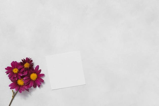 Różowi kwiaty z pustym papierem na stole Darmowe Zdjęcia