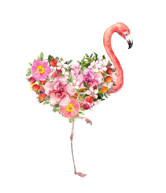 Różowy Flamingo Ptak Z Kwiatowym Sercem. Czerwone I Różowe Kwiaty. Akwarela Na Walentynki Premium Zdjęcia