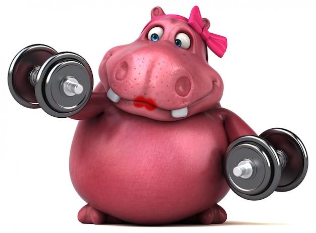 Różowy Hipopotam - Ilustracja 3d Premium Zdjęcia