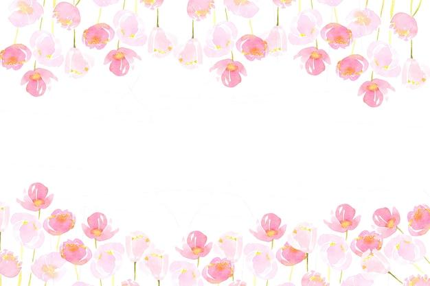 Różowy Luźny Kwiat Akwarela Malarstwo Rama Premium Zdjęcia