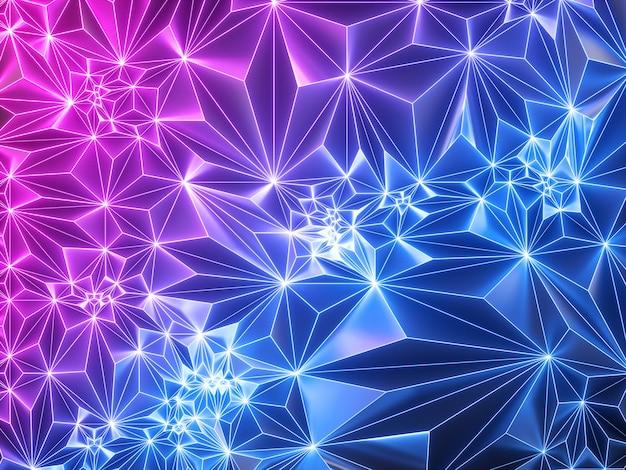 Różowy Niebieski Neon Geometryczne Tło Ze świecącą Siatką Premium Zdjęcia