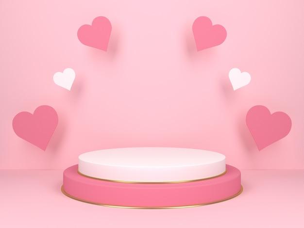 Różowy Okrągły Etap Na Różowym Tle Z Sercami. Koncepcja Miłości. Renderowanie 3d Premium Zdjęcia