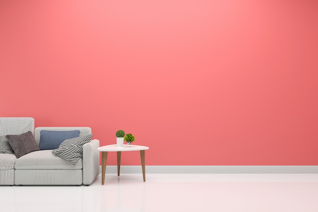 Różowy pastelowe ściany wnętrza salon sofa szablon tło Premium Zdjęcia