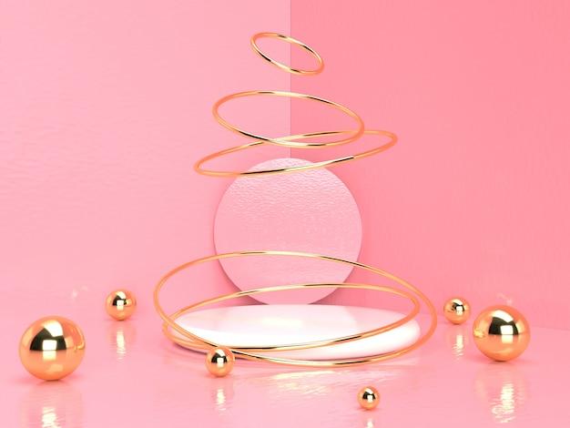 Różowy Pastelowy Produktu Stojak Na Tle. Abstrakcyjna Koncepcja Minimalnej Geometrii. Renderowania 3d Premium Zdjęcia