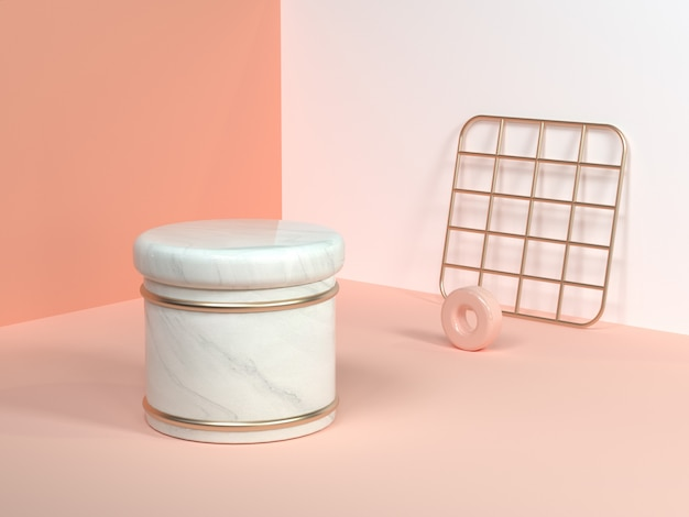 Różowy / Pomarańczowy / Kremowy Minimalny Scena ściany Rogu Abstrakcyjny Kształt Geometryczny Biały Marmur Cylinder Złoty Kwadrat Netto Renderowania 3d Premium Zdjęcia