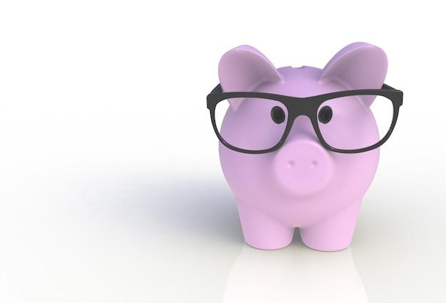 Różowy Prosiątko Bank Z Szkłami Na Bielu Premium Zdjęcia