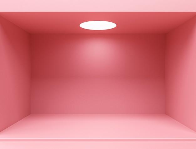 Różowy Pusty Wystrój Wnętrza Pokoju, Pusty Różowy Wyświetlacz Na Tle Podłogi W Minimalistycznym Stylu Premium Zdjęcia