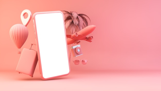 Różowy Smartfon Z Obiektami Podróży Premium Zdjęcia