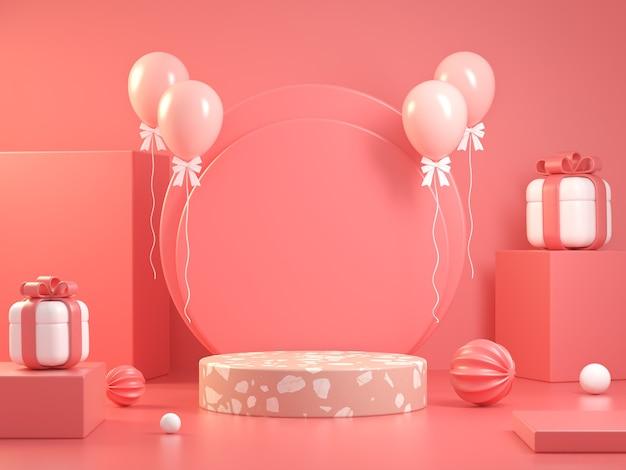 Różowy Wyświetlacz Makieta Celebracja Koncepcja Abstrakcyjne Tło Renderowania 3d Premium Zdjęcia