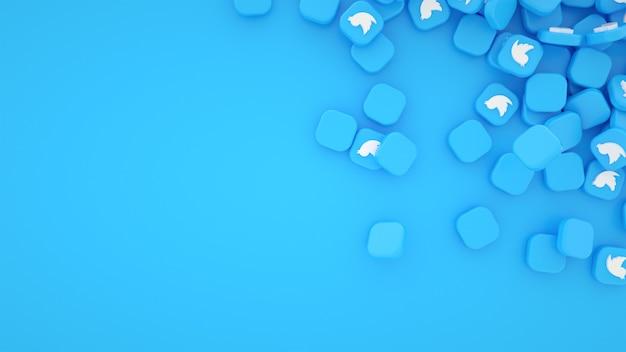 Rozproszone Stos Tło Ikony Twittera Premium Zdjęcia