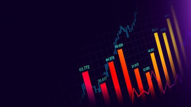 Rynku papierów wartościowych lub rynku walutowego handlu wykres w koncepcji graficznej Premium Zdjęcia