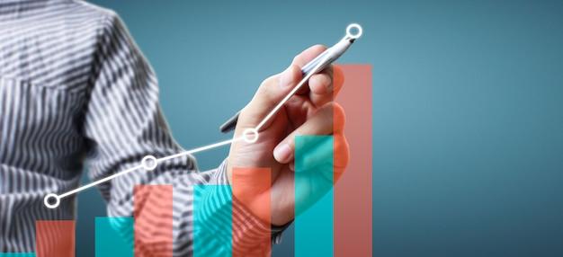 Rysunek Ręka Wykres, Wykres Zapas Wzrostu Premium Zdjęcia