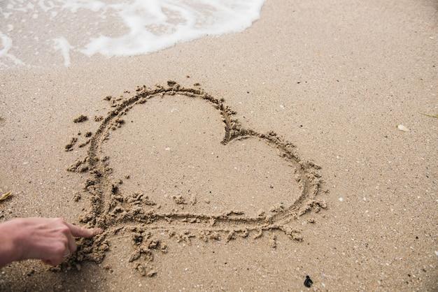 Rysunek Serce W Kształcie Serca Na Piasku Premium Zdjęcia