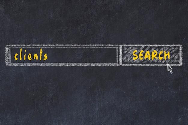 Rysunek tablicowy okna przeglądarki wyszukiwania i klientów napisów Premium Zdjęcia