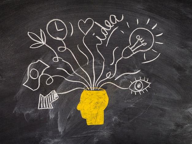 Rysunek tablicy i koncepcji pomysłów na głowę Darmowe Zdjęcia