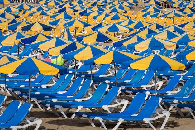 Rzędy Niebieskich Leżaków Z Niebieskimi I żółtymi Parasolami Na Plaży Playa De Puerto Rico Na Wyspach Kanaryjskich Premium Zdjęcia