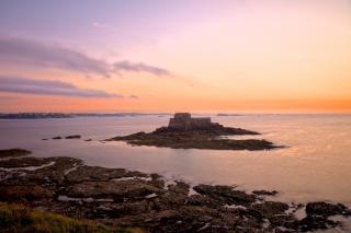 Saint Malo Zmierzchu Dekoracje Hdr Skały Darmowe Zdjęcia