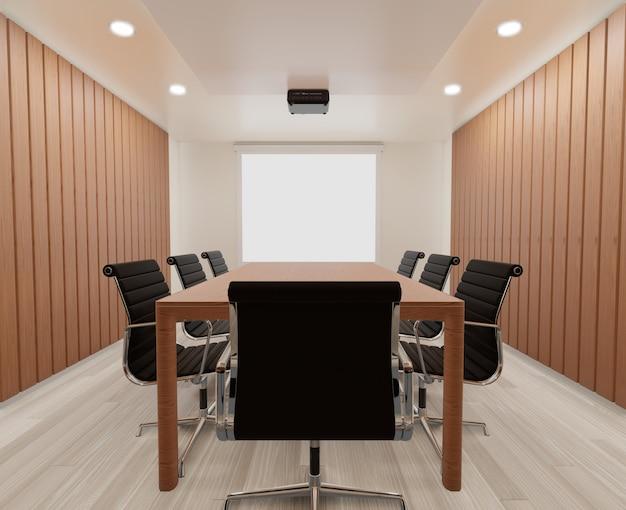 Sala Konferencyjna Z Krzesłami, Drewnianym Stołem, Dywanem Premium Zdjęcia