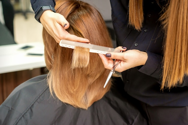 Salon Fryzjerski ścina Brązowe Włosy Młodej Kobiecie W Salonie Kosmetycznym Premium Zdjęcia