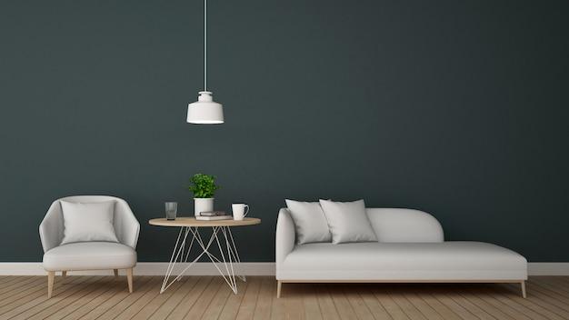Salon w salonie lub kawiarni - renderowanie 3d Premium Zdjęcia