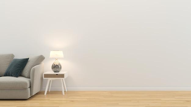 Salon wnętrze renderowania 3d sofa stół drewniana podłoga drewniana ściana szablon Premium Zdjęcia