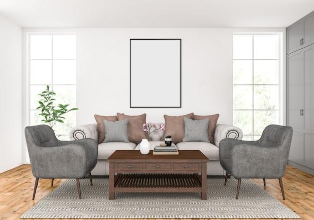 Salon z pustą makietą pionowej ramy Premium Zdjęcia