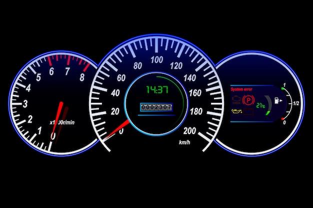 Samochodowy Szybkościomierz, Tachometr, Drogomierz, Temperatura I Paliwo Czujnik, Wektorowa Ilustracja Premium Zdjęcia