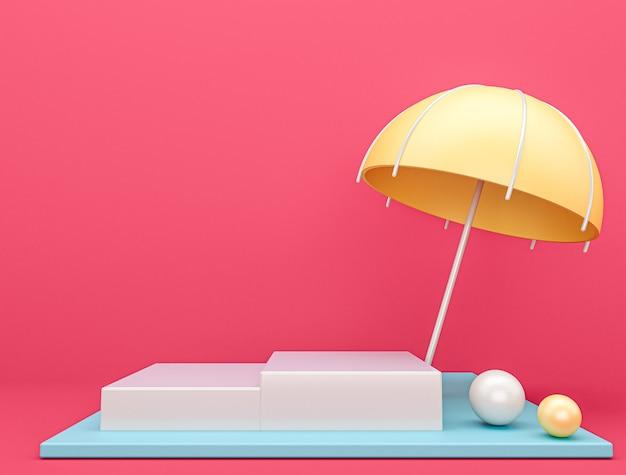 Scena Parasol Z Różowym Tłem, Renderowanie 3d Premium Zdjęcia