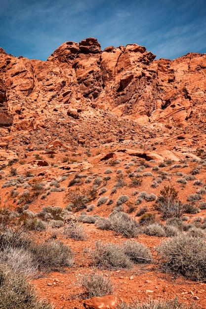 Sceniczny Krajobraz Z Niebieskim Niebem Przy Doliną Pożarniczy Stanu Park W Nevada Premium Zdjęcia
