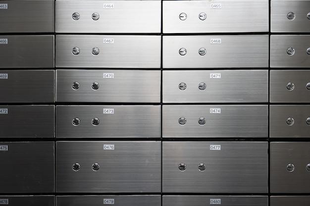 Ściana Panelu Sejfu Metalowego. Koncepcja Bezpieczeństwa I Ochrony Bankowej. Premium Zdjęcia