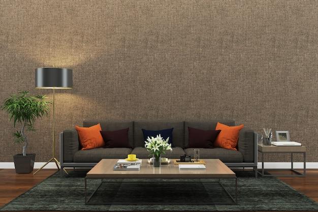 Ściana tekstury tło drewno marmurowa podłoga sofa krzesło lampa wnętrze vintage nowoczesnym Premium Zdjęcia