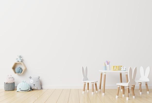 Ściana W Pokoju Dziecięcym W Białej ścianie. Premium Zdjęcia
