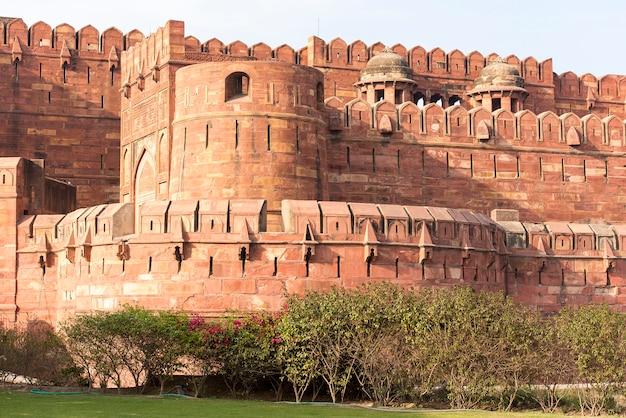 Ściany Czerwonego Agra Fortu W Agra, India Premium Zdjęcia