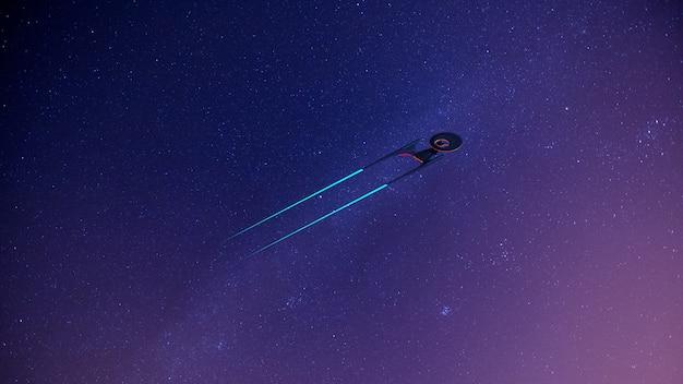 Science fikcyjny obraz statku kosmicznego w kosmosie i drodze mlecznej Premium Zdjęcia