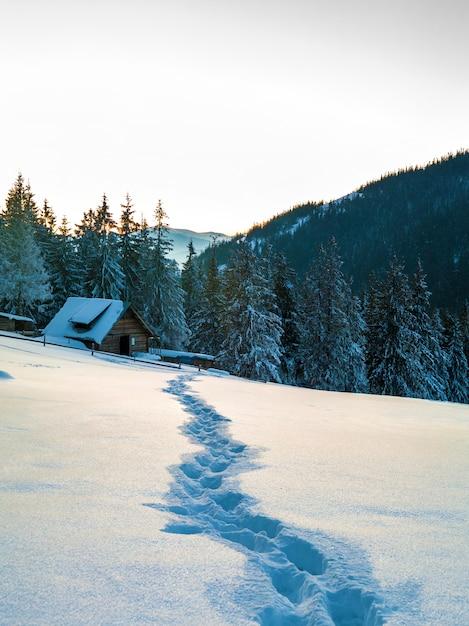 Ścieżka z odciskami stopy w śniegu w zim górach. Premium Zdjęcia