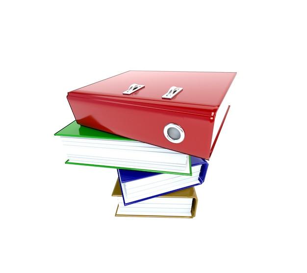 Segregatory foldery wielokolorowe samodzielnie na białym tle. 3d ilustracja. Premium Zdjęcia
