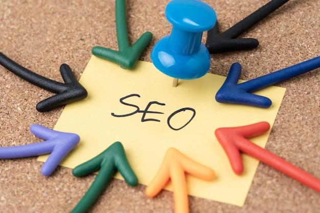 Seo Search Engine Optimization, Marketing Słów Kluczowych W Celu Zwiększenia Ruchu Do Koncepcji Witryny Premium Zdjęcia