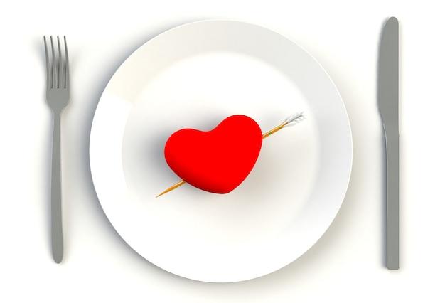 Serce Na Talerzu, Nożu I Widelcu Premium Zdjęcia