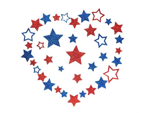 Serce Wyłożone Z Błyszczących Gwiazd W Kolorach Amerykańskiej Flagi, Concept Love Usa. Premium Zdjęcia