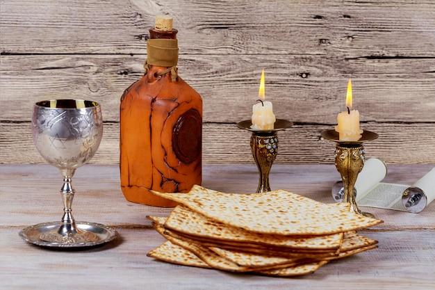 Shabbat shalom - tradycyjne żydowskie rytuał matzah. Premium Zdjęcia