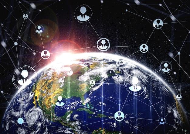Sieć Ludzi I Globalne Połączenie Z Ziemią W Innowacyjnym Postrzeganiu Premium Zdjęcia