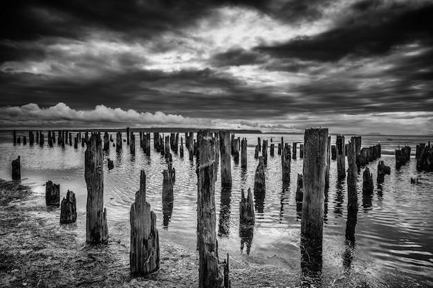 Skala Szarości Ujęcie Wielu Drewnianych Bali W Morzu Pod Zapierającymi Dech W Piersiach Chmurami Burzowymi Darmowe Zdjęcia