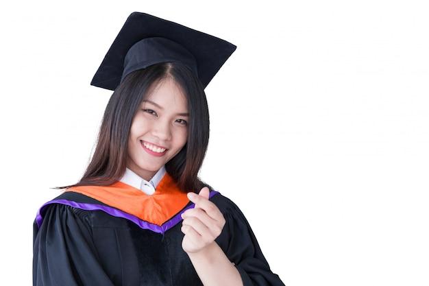 Skalowanie Portret Azjatyckich Słodkie Kobiety Na Białym, Tajlandia Uniwersytet Premium Zdjęcia