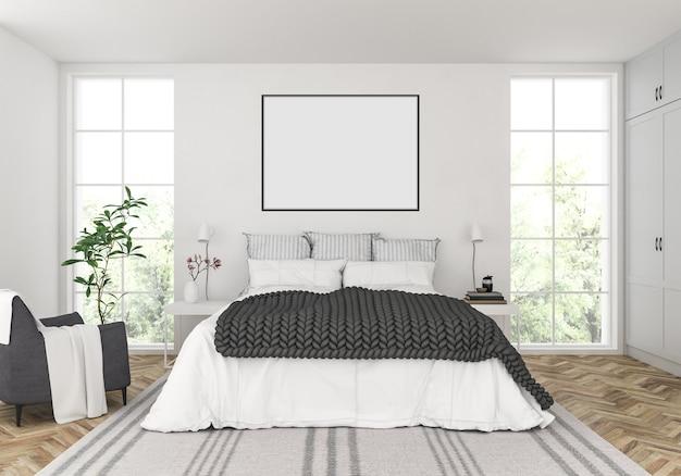 Skandynawska sypialnia z pustą poziomą ramą Premium Zdjęcia